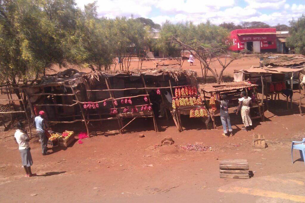 Puestos de comida en la ruta de Mombasa a Malindi, Kenia, África 2012