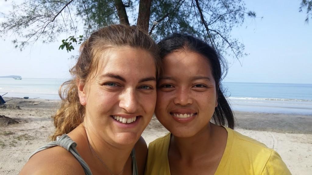 Joven camboyana y yo, Odres Beach, Sihanoukville, Camboya, Octubre 2015