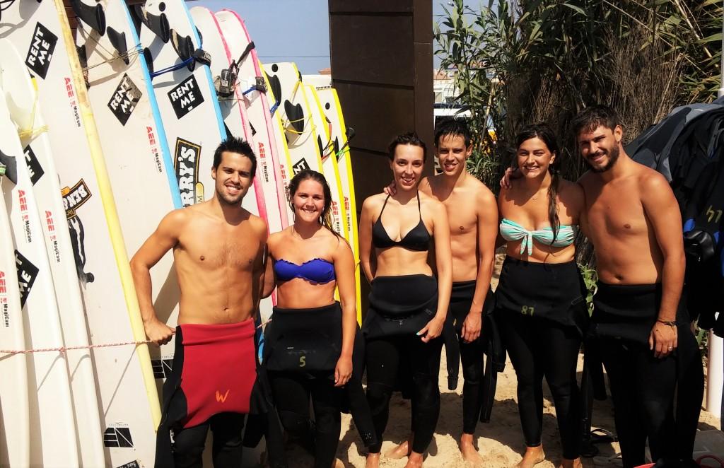 El grupo después del intento de surf, Playa Baleal, Portugal, 2015
