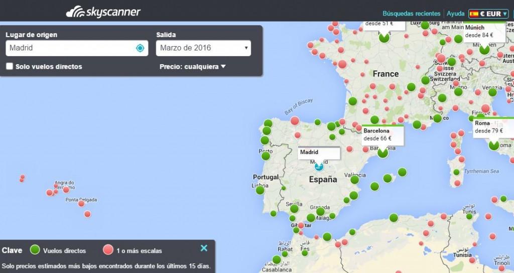 Mapa con destinos baratos de la Web Skyscanner
