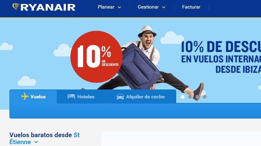 Web de Ryanair, compañía de vuelos low cost