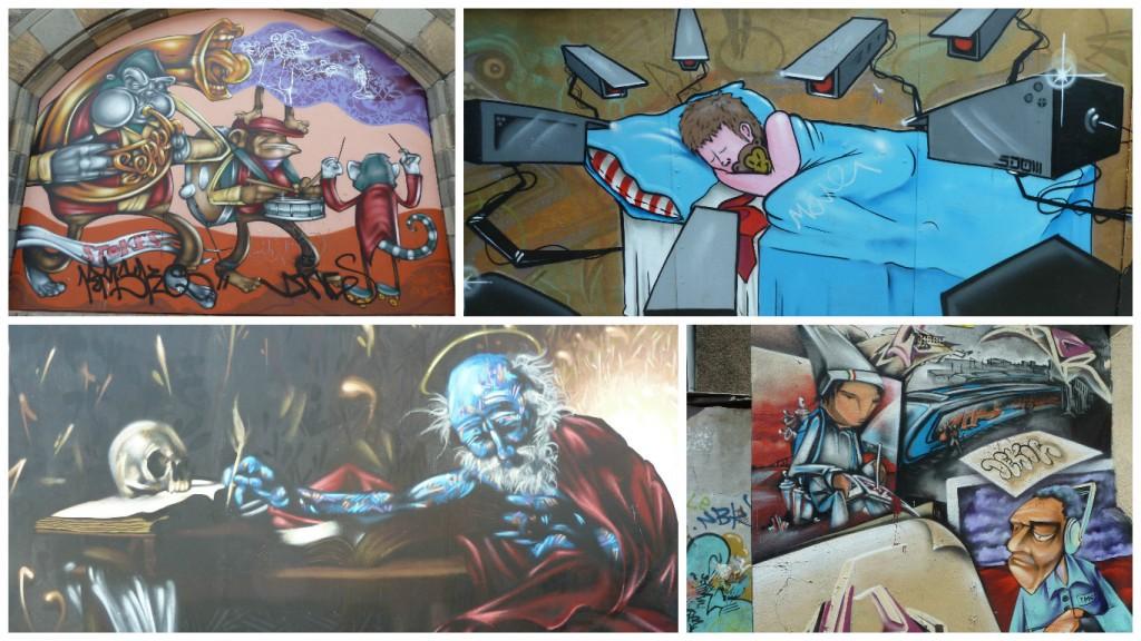 Collage de Fotos de Graffitis en las calles de Bristol, Inglaterra, junio 2012