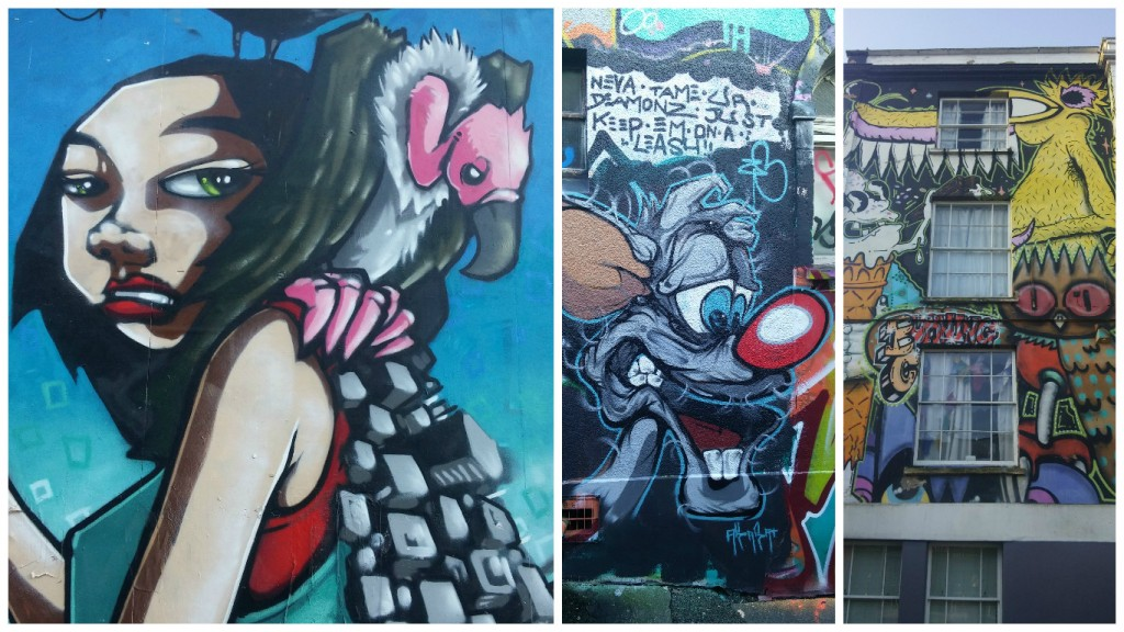 Collage de Fotos de Graffitis en las calles de Bristol, Inglaterra, enero 2016
