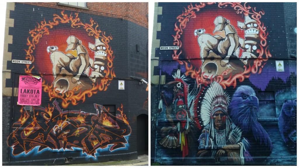 Graffiti de Moon Street que sufrió cambios de 2012 a 2016, Bristol, Inglaterra