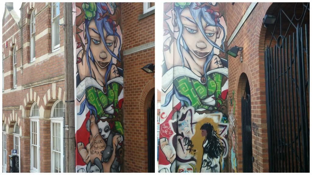 Graffiti en mural que sufrió cambios de 2012 a 2016, Bristol, Inglaterra