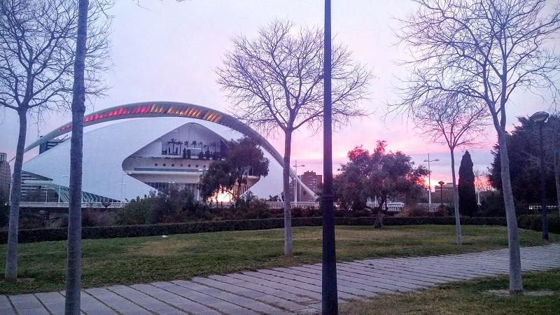 Atardecer en la Ciudad de las Ciencias y las Artes, Valencia, España, marzo 2016